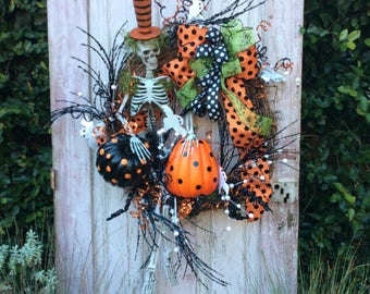 Deluxe Halloween Wreath,large Skeleton wreath,Halloween Wreath, Halloween Skeleton Wreath, Halloween Door Wreath, whimsical Halloween wreath
