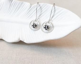 Silver Bali Bead Drop Earrings - 925 Sterling Silver Hoop Earrings with Bali Silver Artisan Beads Simple Modern Satellite Earrings Gift