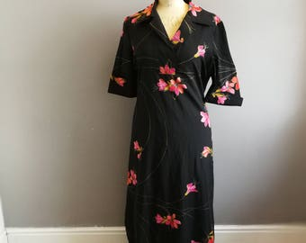 Floaty black pink maxi dress / semi sheer 70s long drsss / boho 70s floral long dress / as seen in fashion week / vintage holiday dress