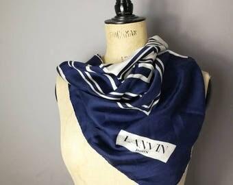 Lanvin silk scarf / vintage silk scarf / navy white square scarf / lanvin paris / vintage designer scarf