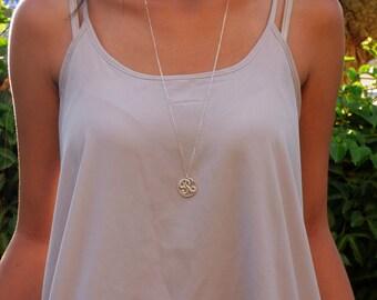 Statement Large Monogram Necklace, Monogram Necklace Sterling Silver, Long Pendant Necklace, Long Necklace, Statement Necklace