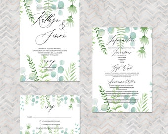 Tropical Botanical personalised wedding invitations with matching accessories