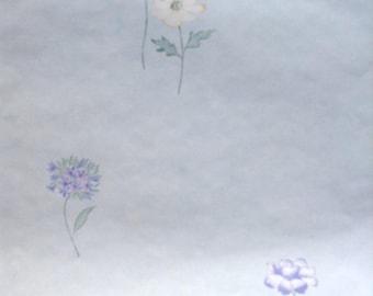 Blue Floral Vintage Wallpaper Pink Green Light Faux Finish UK 53403 Double Rolls