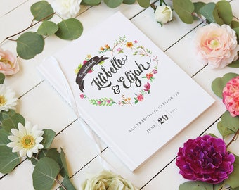 Floral Wedding Guest Book • Romantic Whimsical Wedding Custom Guest Book • Personalized Guestbook • 8 x 10