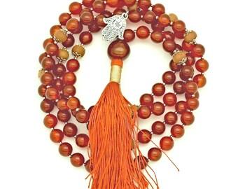 Carnelian Mala with Sandalwood & Hamsa charm; 108 bead mala, silk tassel, hand-made