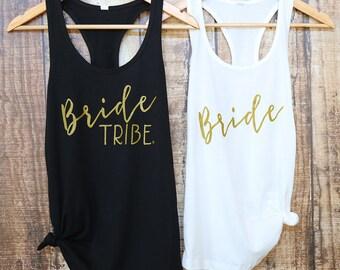 Bachelorette Party Shirts | Bridal Party Shirts | Bachelorette Shirts | Bride Tribe | Bride Tribe Tanks| Gold| Bride Shirt| Bridesmaid Gift|