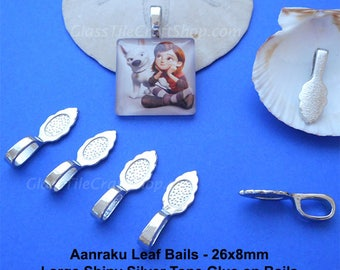 50 Aanraku Leaf Bails - 26x8mm Silver Tone Glue on Large Bails for Pendants (LAANRAKU)