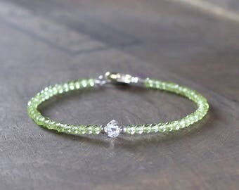Delicate Peridot Bracelet with Herkimer Diamond Crystal in Sterling Silver or Rose Gold Filled, Skinny Faceted Peridot Birthstone Bracelet