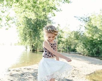 White Lace Boho Skirt