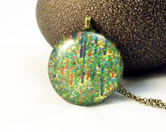 Green and Multi-Color Dots Glass Pendant Necklace