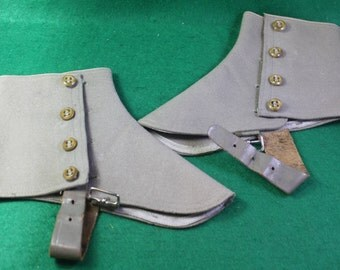 Vintage pair of Dove grey wool and leather spats  - Steampunk