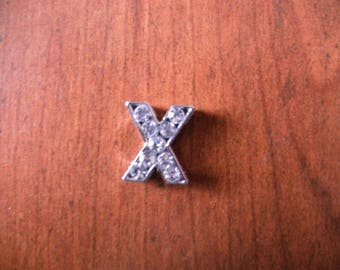 Letter X silver tone with Rhinestones for a personalized 8 mm bracelet