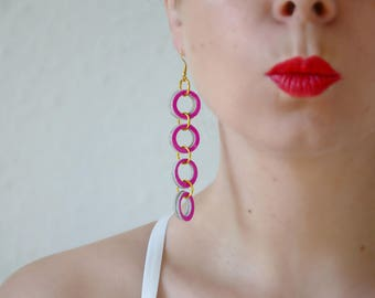 Flashy earrings, Neon pink earring, Geometric leather earrings, Extra long earrings, Valentines Gift, Circle earring, Minimal geometric gift