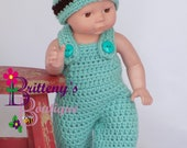 Baby Doll Clothes  Crochet Baby Doll Clothes Set Crochet Baby Doll Mint Green Overalls Booties Hat Baby Doll Clothing 13 14 inch Doll Size