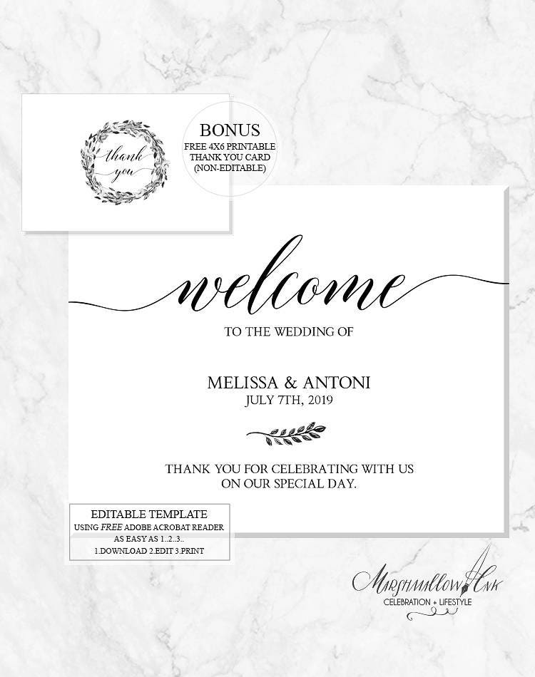 Wedding Signs, Wedding Welcome Sign Printable DIY Wedding Template, Wedding Signs PDF Wedding Printable Reception Sign, DIY Wedding Decor