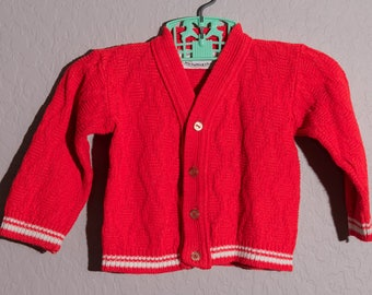 Vintage Robinit Sweater, 1960's Infant Red Sweater
