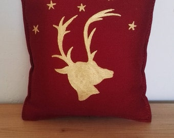 Reindeer Mini Plush Pillow - Hand-Painted - Red and Gold Christmas Pillow - Festive Reindeer Decor