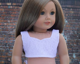 Doll Clothes | White Lace Overlay Woven CROP TOP for 18 Inch doll such as American Girl Doll