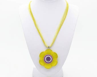 Flower Necklace - Yellow Necklace - Flower Necklace Pendant - Flower Buttons - Yellow Buttons - Button Necklace - Button Jewelry - Floral