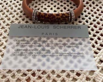 Vintage 1990s Bracelet Designer Jean-Louis Scherrer Paris Leopard Print Rhinestones Signed 925 Soft Flexible Band With A Latch Lock