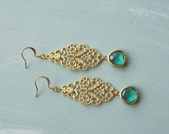 50% off SALE! Earrings, gold filigree and turquoise crystal dangle earrings