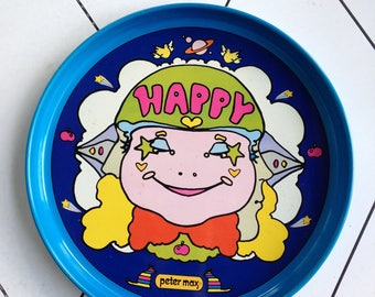 Peter Max happy metal serving tray