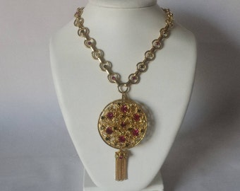 Rhinestone Pin Brooch Pendant w Matching Chain Tassel VINTAGE Pink Green Clear