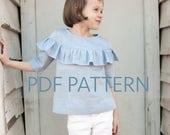 Laurel Blouse PDF, girls blouse pattern, blouse pdf, girl sewing pattern, children's blouse, tween pattern, ruffle top pdf, toddler pdf,