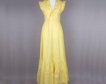 1970s yellow vintage maxi dress by Shubette of London