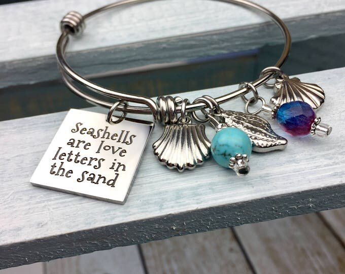 Seashells are Love Letters in the Sand Expandable Bangle Charm Bracelet, shells, beach, summer, treasures of the sea, engraved