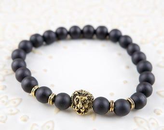 Golden Lion & Matt black stones beaded Bracelet 8mm beads