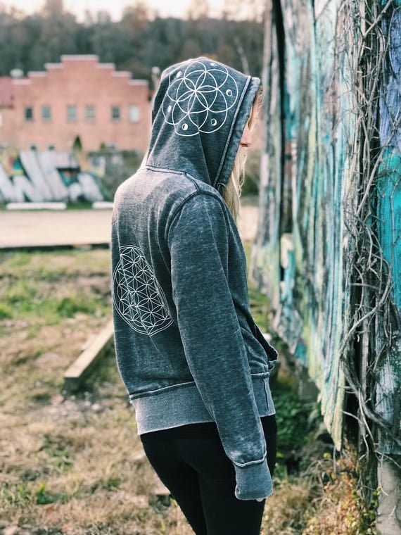 Sacred Geometry Festival Fleece Lined Flower of Life Hoodie - Distressed Unisex Zip Up - Flower of Life, Seed of Life - Acid Washed Grey