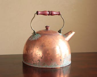 "Vintage copper tea pot made in Korea / charming stove top kettle ""New Philadelphia"""