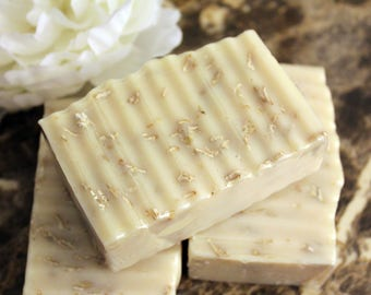 Unscented oatmeal soap, all natural soap, palm free soap, sensitive skin soap, detergent free, shea butter, mango butter,