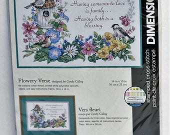Dimensions stamped cross stitch kit  Flowery Verse #3160 Sealed