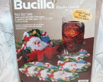 Bucilla Plastic Canvas kit #61250 Holly Jolly Santa Coasters Vintage 1998