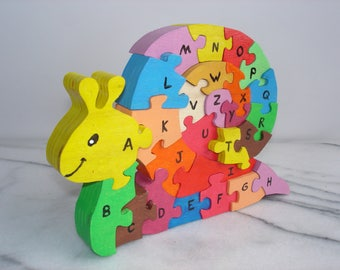 Snail puzzle to learn the Alphabet