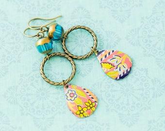Long Boho Chic Tin Earrings with Flower Teardrops and Blue Czech Glass Beads, Boho Flower Earrings, Tear Drop Jewelry