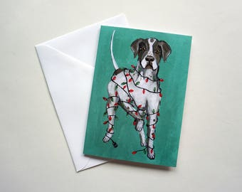 English Shorthaired Pointer Tangled in Lights Holiday Card, Pointer Christmas Card by Amber Maki