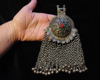 P7002 - Large Vintage Waziri Pendant - Afghani Ethnic Belly Dance Kuchi Kochi Tribal Pendant Charms Findings Design Supplies