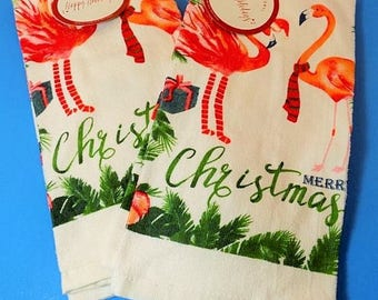 NEW Christmas Holiday Happy Jolly Tropical Flamingo Kitchen Towels Gift Florida