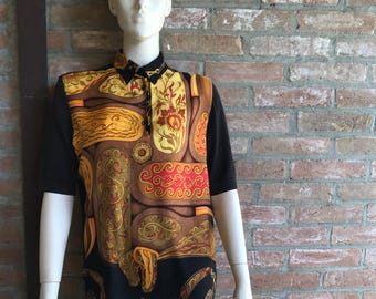 Hermes polo shirt, silk cotton and cachemire, pre-loved, ue M size