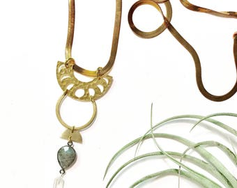 Phoebe Necklace with Brass Moon Phase Crescent, Labradorite, and Quartz