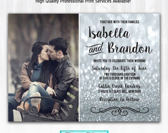 Silver Glitter Wedding Invitations with Photo DIY PRINTABLE Digital File or Print (extra) Silver Wedding Invitation Glitter Wedding Invites