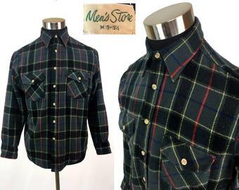 Vintage 80s Plaid Flannel Button-Down Shirt MEDIUM // Sears // Acrylic // Tartan // Lumberjack // Classic // Boyfriend // M // Retro