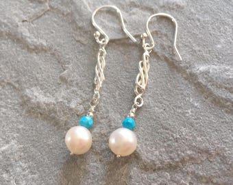Turquoise Pearl Long Dangle Earrings, Sterling Silver Earrings, Sleeping Beauty Turquoise Jewelry, Celtic Design Pearl Earrings,