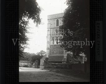 Antique Magic Lantern Glass Slide - Eastry Church in Kent England - Vintage Victorian Projector Slide
