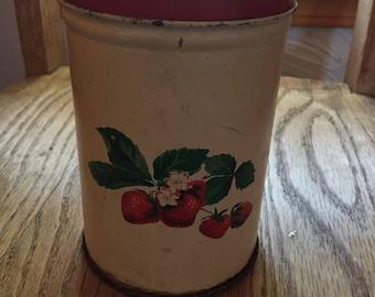 Vintage Tin with Strawberry Design