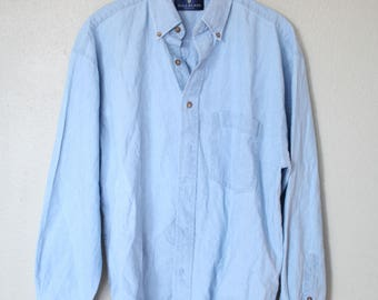 vintage 1990's oversized  blue chambray denim shirt