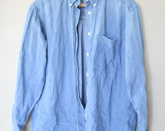vintage oversized  blue chambray denim shirt